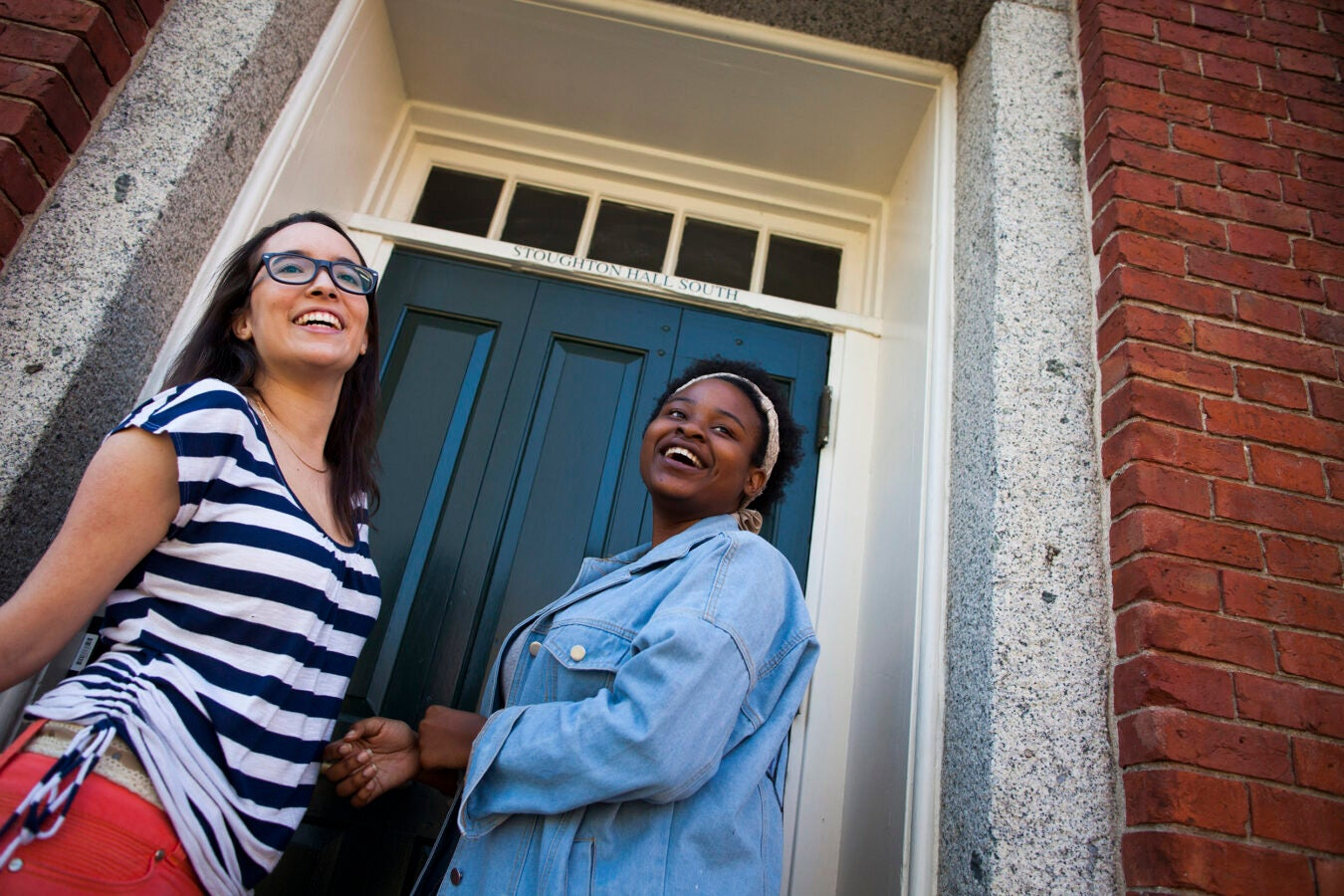 Tatiana Patino '20 (left), from Georgia, and Walburga Khumalo '20, from South Africa, share a room in Stoughton Hall.