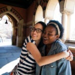Roommates Tatiana Patino and Walburga Khumalo are pictured as first-year students and then as seniors before they move off campus.