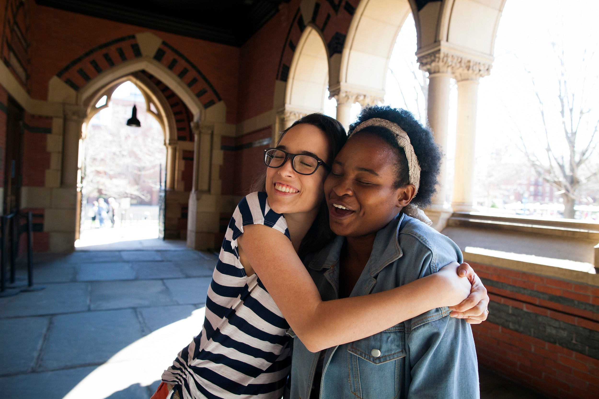 First year roommates Tatiana Patino '20 (left), from Georgia, and Walburga Khumalo '20, from South Africa, share a room in Stoughton Hall.