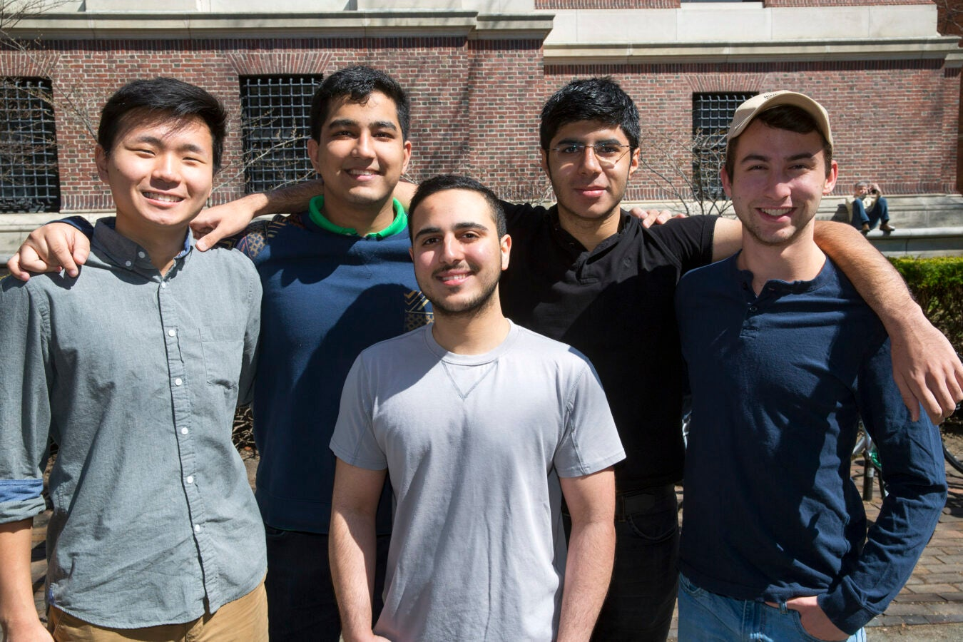 Roommates in Wigglesworth: (l to r) Andrew Cho '20 (AZ), Arpan Sarkar '20 (TN), Michael Shadpour '20 (CA), front, Soheil Sadabadi '20 (Iran), and Scott Kall '20 (MA).