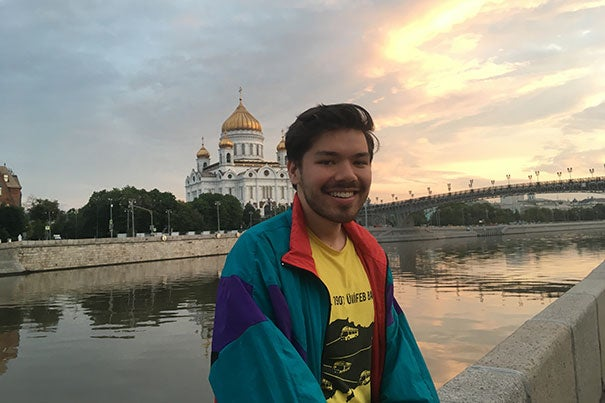 eyes is along the Moskva River with the Cathedral of Christ the Savior in the background. At 338 feet, it is the tallest Orthodox Christian church in the world.