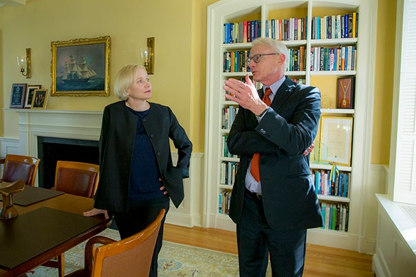 Harvard University Business School professor, Michael Porter and co-author Katherine Gehl, (left)