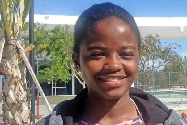 """Sophomore Sela Kasepa, a native of Zambia, launched and mentored her country's FIRST Global robotics team. """"As a nation, Zambia needs to drive toward innovation, and these students can be leaders in that arena,"""" she said."""