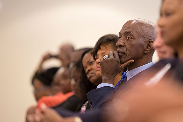 Renowned lawyer and HLS professor Charles J. Ogletree Jr., listens during a symposium celebrating his accomplishments, including the announcement of a professorship in his honor.