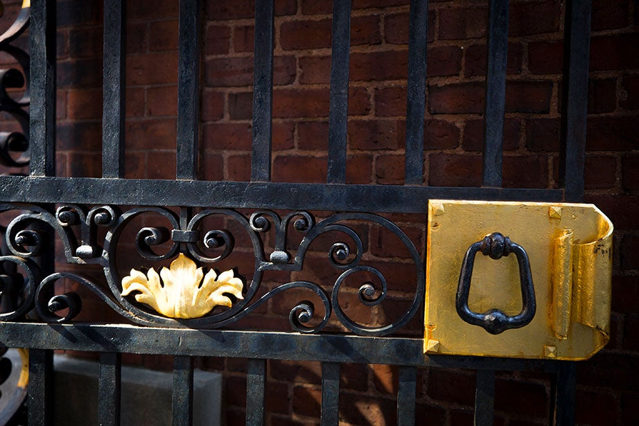 Gold ornaments glimmer on a shiny black gate.
