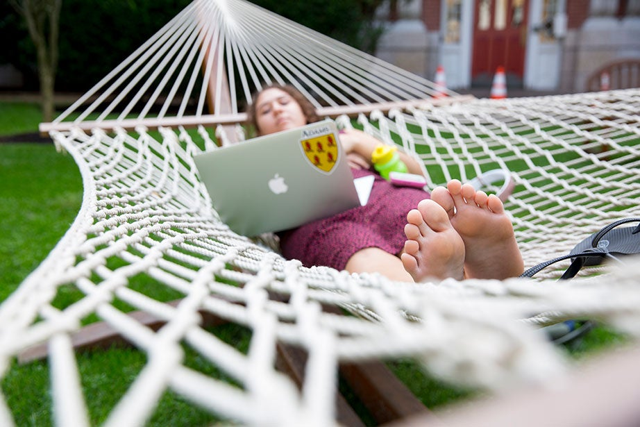 "Student Cydnee Colpaert '20 lives at Adam House and enjoys a warm fall day in the hammock at Randolph Courtyard. ""The Square and the Yard can be a little too hectic to deal with at times so it's nice to have this quiet and scenic getaway that is still so close to classes,"" she said. ""It also has pretty great WiFi, which is a huge plus."""