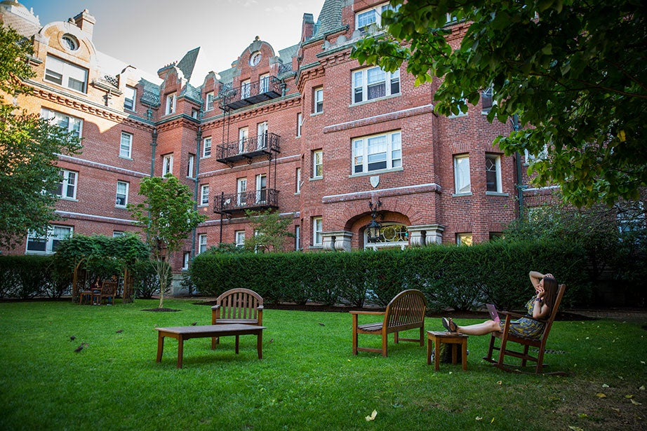 "The residences with views of the courtyard were originally called ""Gold Coast"" dormitories. They were built from 1893–1902 to provide luxurious accommodations for rich Harvard undergraduates."