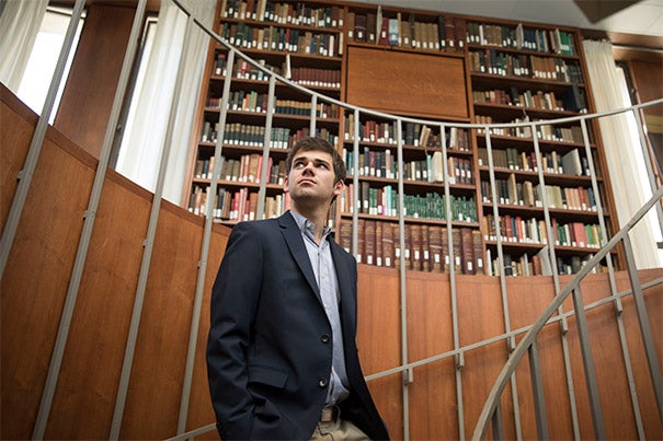 Matt DeShaw '17 is seen at the Leverett House Library at Harvard