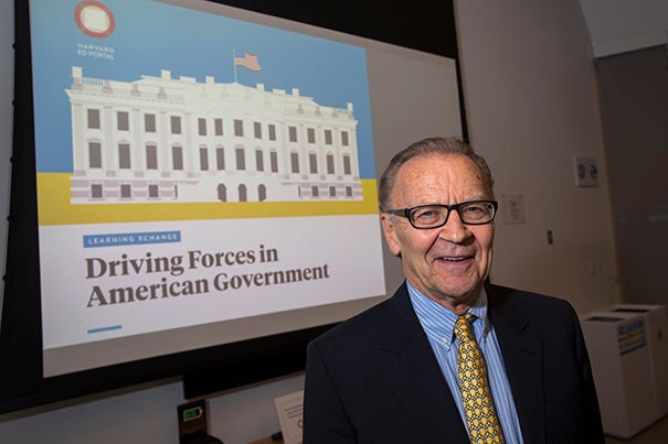"""At the Ed Portal public lecture """"Driving Forces in American Government,"""" Kennedy School Professor Tom Patterson urged his audience to talk about politics and combat misinformation."""