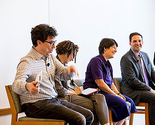 Panelists Jonathan Zittrain, (from left), Cynthia Dwork, Margo Seltzer and Christopher Griffin discussed the impact of AI on society and how to regulate it at the Harvard kickoff to HUBweek.