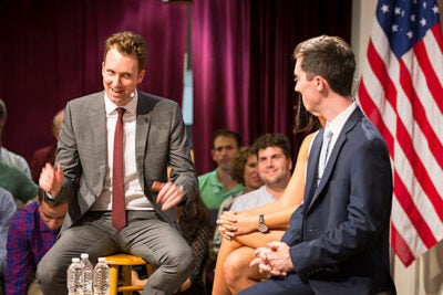 """Jordan Klepper of Comedy Central's """"The Opposition"""" discusses satire with Jesse Shelburne and Sharon Yang, president and vice president of the IOP's Student Advisory Committee."""