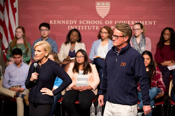 MSNBC pundits Mika Brzezinski (left) and Joe Scarborough led students through a discussion about the state of the nation and how millennials can exact the kind of change they want to see.