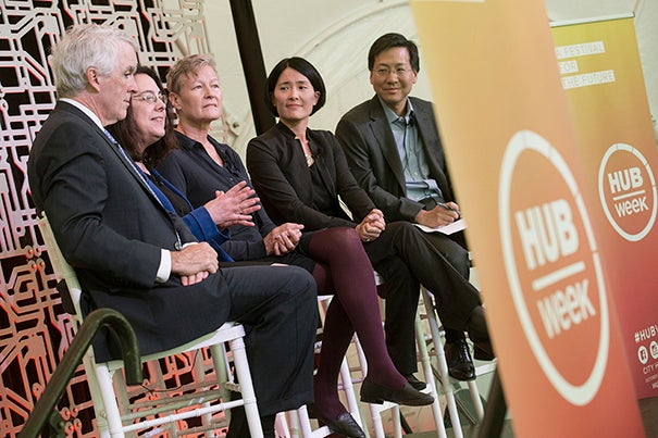 Panelists Tom Lynch (from left), Arlene Sharpe, Linnea Olson, Alice Shaw, and moderator Stanley Shaw engage in an interactive conversation on the scientific, business, and human stories behind the recent successes against cancer.