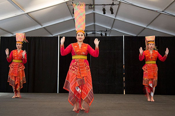 Worldwide Week began with the first International Festival, a review of Harvard's diverse cultural student groups, including the Nusantara Kreasindo Indonesian Dance group.