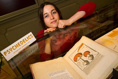 Jensen Davis has tapped into Harvard's Ludlow-Santo Domingo collection for her research on psychedelic drugs. Jon Chase/Harvard Staff Photographer