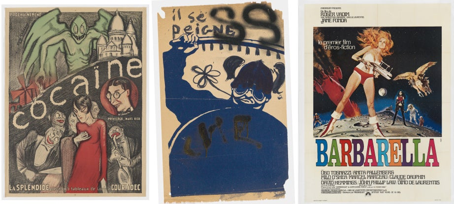"Poster advertising a French musical in the 1920s (from left); May 1968 Paris student protest poster decorated with three campaigns of graffiti; poster for ""Barbarella,"" first feature film to feature a science fiction hero. Images courtesy of Houghton Library"
