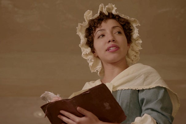 "Harvard sophomore Ashley LaLonde portrays poet Phillis Wheatley in the film ""No More, America,"" directed by Peter Galison and Henry Louis Gates Jr."