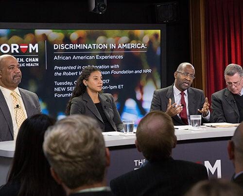 "Panelists in last week's Chan School Forum ""Discrimination in America: African American Experiences,"" were Dwayne Proctor (from left), Elizabeth Hinton, David Williams, and Robert Blendon."