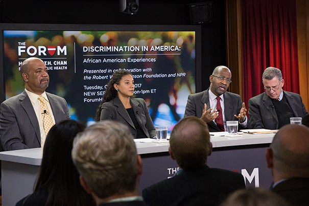 "Panelists in last week's Chan School Forum ""Discrimination in America: African American Experiences,"" were Dwayne Proctor (from left), Elizabeth Hinton, David Williams, and Robert Blendon."