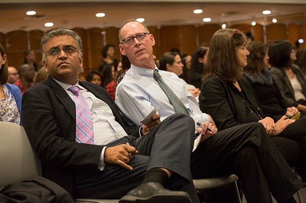 Ashish Jha (from left) and Paul Farmer
