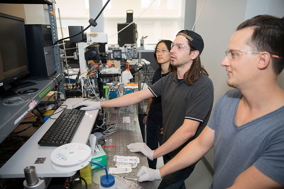 The Weitz Lab is partnering with the Green Labs program to assess the energy use of lab equipment. Pictured here are Biyi Xu (from left), associate researcher at Nanjing University; Kirk Mutafopulos, GSAS physics student; and Pascal Spink, a research fellow in applied physics.