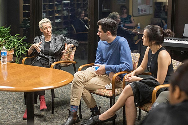 Jamie Bernstein '74 (left) writer, broadcaster, and daughter of composer Leonard Bernstein '39, speaks with Steven Ekert '20 and Kristen Fang '19 about her father's work and influence.