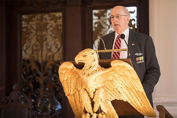 During the Veterans Day ceremony at the Memorial Church on Saturday, U.S. Army veteran Thomas Reardon '68 announced Harvard's partnership with the Service to School's VetLink program.