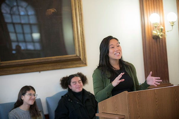 Priscilla Chan '07 met with PBHA students to announce a $12.1 million grant to support public service opportunities for undergraduates.