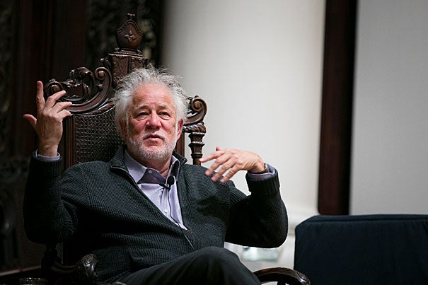 """Michael Ondaatje, author of """"The English Patient"""" and other novels, read passages from his work and took questions on his creative process during a Harvard forum at Memorial Church."""