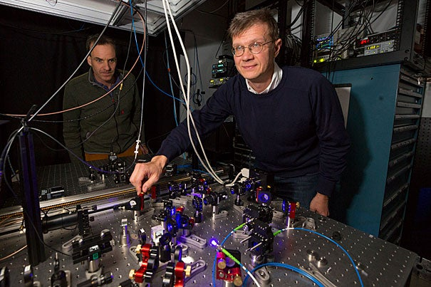 Physics Professors Markus Greiner (left) and Mikhail Lukin led a Harvard-MIT team that developed a 51-qubit quantum simulator, one of the largest such systems yet built.