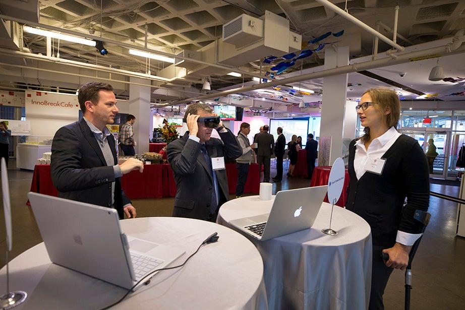 Michael Behrisch and Johanna Beyer demonstrate their data visualization technology.