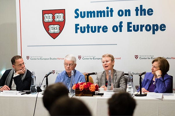 At the Summit on the Future of Europe, panelists Rawi Abdelal (left), Timothy J. Colton, Lilia Shevtsova, and Angela Stent discuss the hurdles awaiting a recovering European economy.