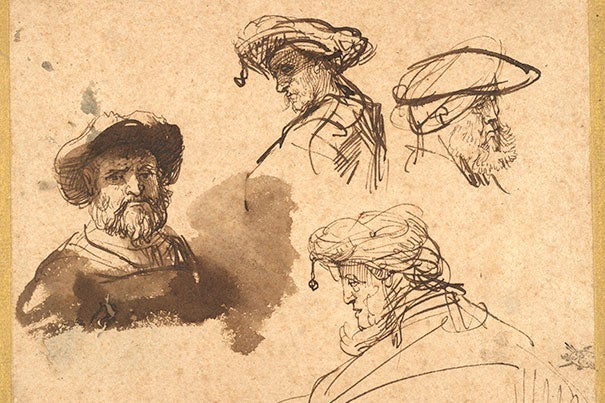 """Rembrandt Harmenszoon van Rijn's """"Four Studies of Male Heads,"""" c. 1636 is one of the 330 works recently donated to the museums from the Maida and George Abrams collection."""