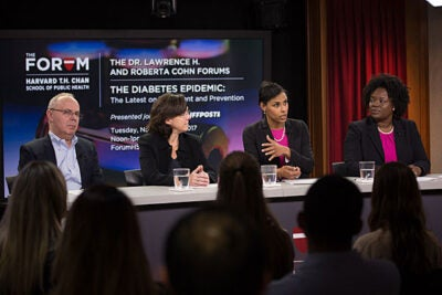 A panel at the Harvard Chan School discussed new options to reduce the statistic that has 1 in 11 Americans with diabetes. Professor Sara Bleich (third from left) suggested a food policy that would make consumers less dependent on willpower alone. Other panelists included Howard Wolpert (from left), Elizabeth Halprin, and LaShawn McIver.