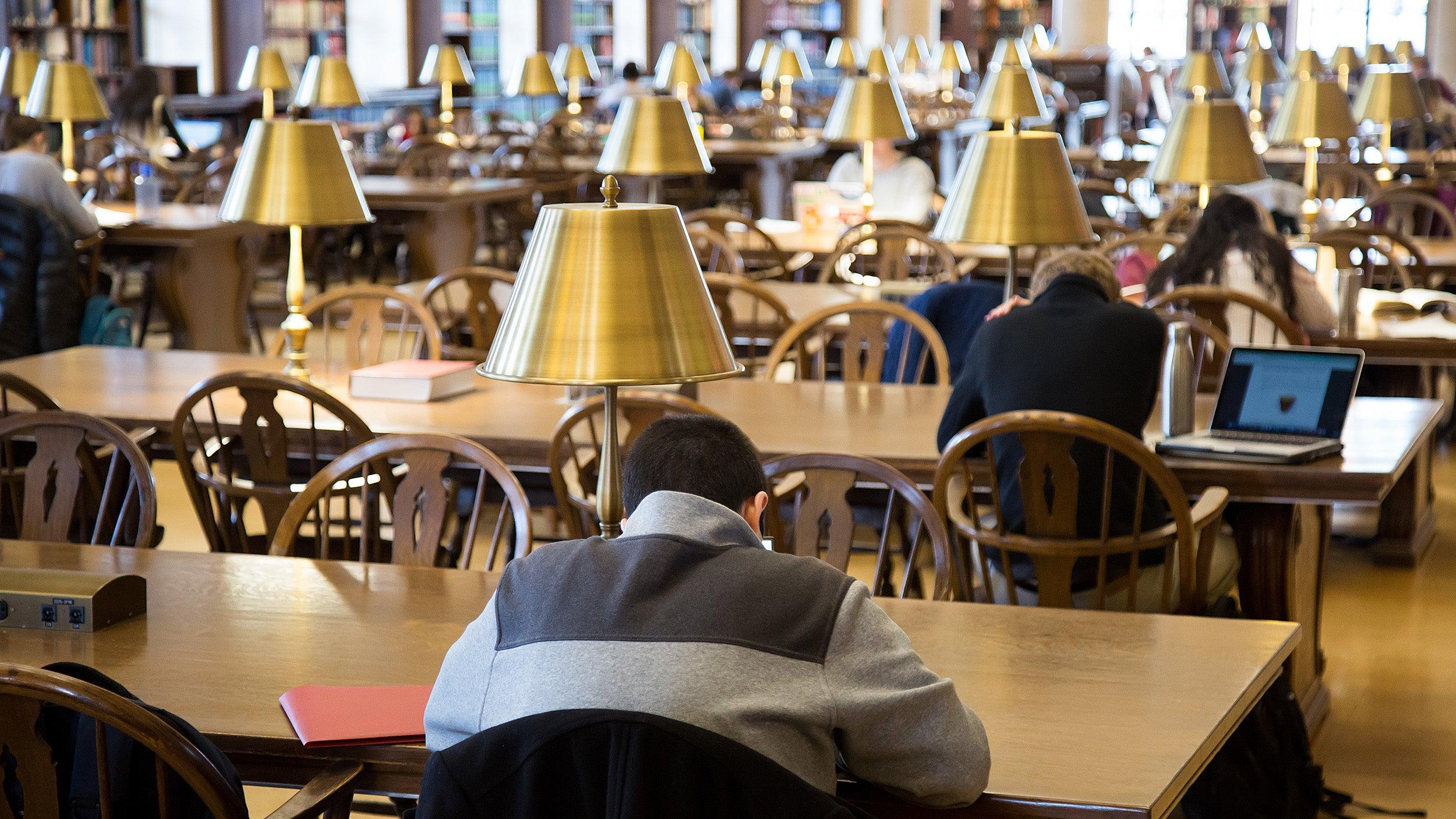 Gold lamps glimmer in Widener Library's Loker Reading Room.