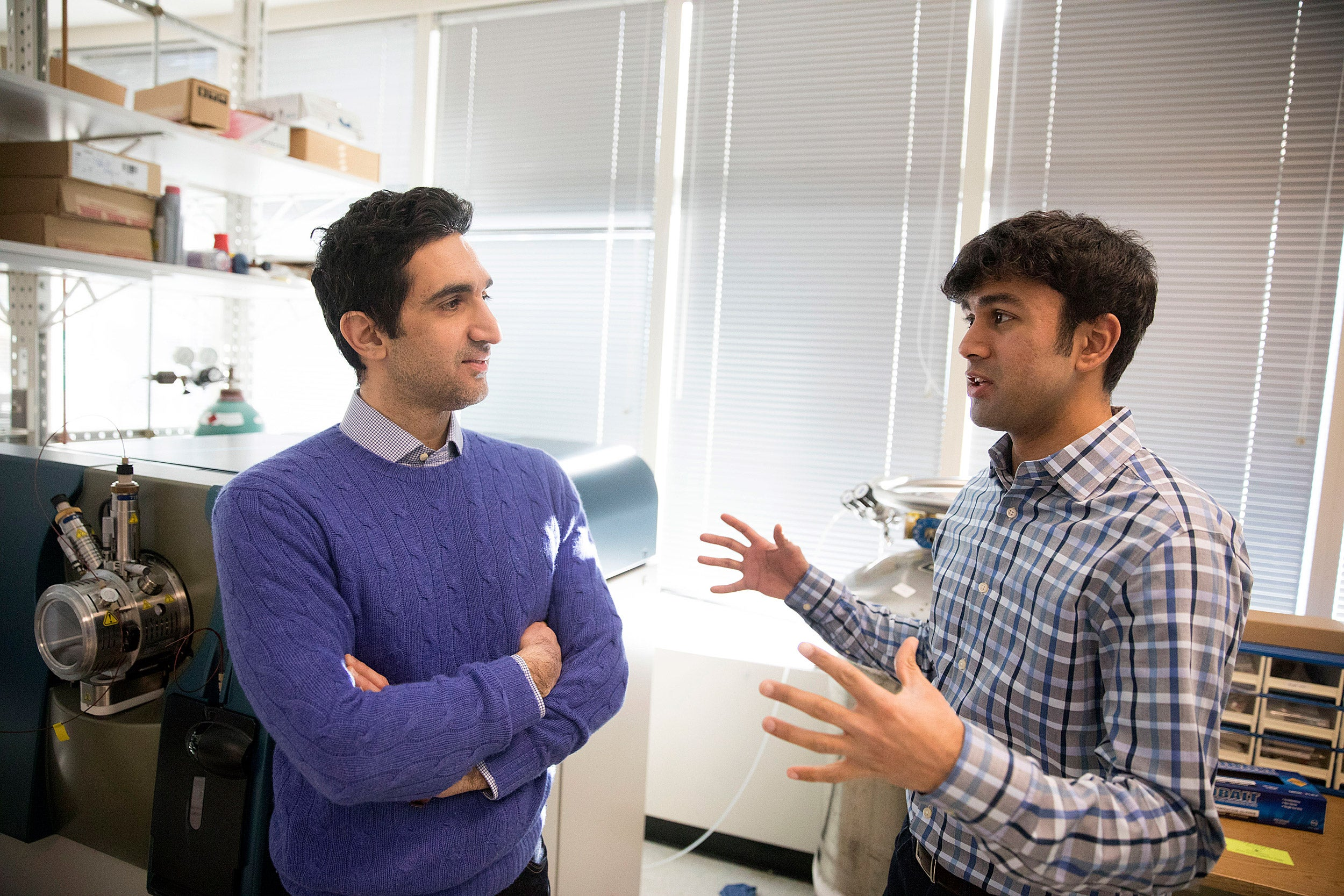 Nima Saeidi (left) and Gautham Sridharan are working to understand the changes that occur in the body after Roux-en-Y surgery, which can include curing diabetes, changes in taste perception, and other benefits not directly linked to weight loss.