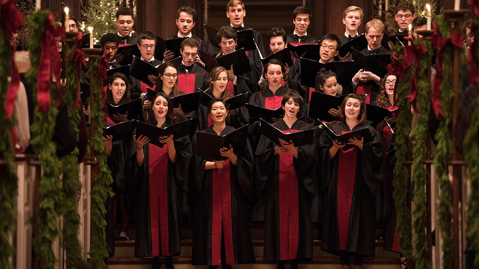 Harvard choir performs.