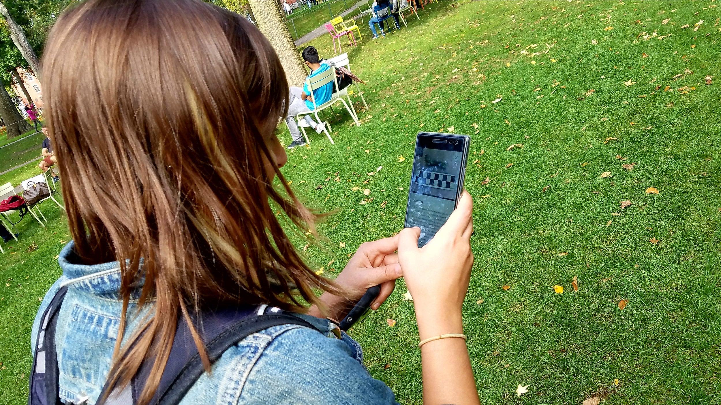 Harvard student Alexis Hartford tests the app