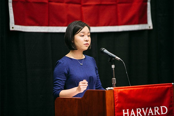 Margery Tong '17 addresses her fellow midyear graduates