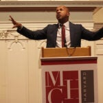 """""""Slavery didn't end in 1865. It just evolved. It turned into decades of terrorism, violence, and lynching,"""" said Bryan Stevenson '85, delivering the 2017 Tanner Lecture on Human Values."""