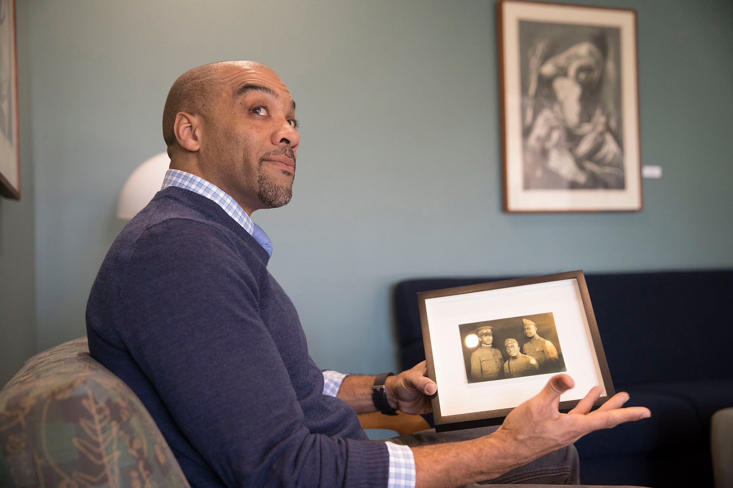 """Radcliffe fellow Chad Williams is working on a book about what he considers one of W.E.B. Du Bois' greatest missteps: """"The Black Man and the Wounded World,"""" an unfinished history of the African-American experience during World War I."""