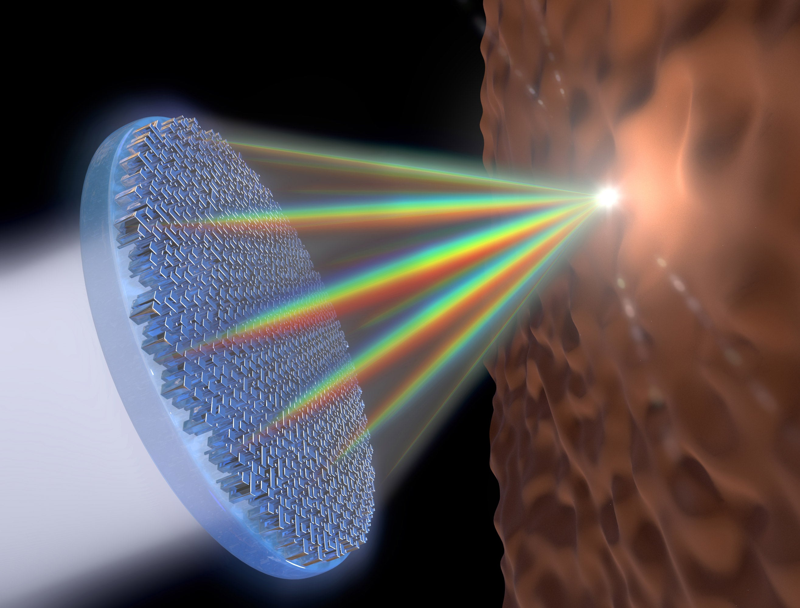 This flat metalens is the first single lens that can focus the entire visible spectrum of light — including white light — in the same spot and in high resolution. It uses arrays of titanium dioxide nanofins to equally focus wavelengths of light and eliminate chromatic aberration.