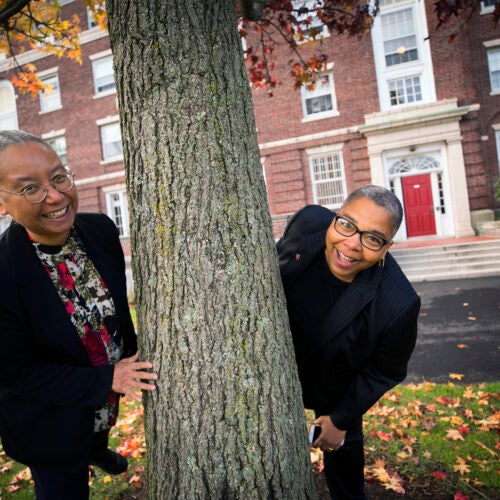 "Latanya Sweeney (right) and Sylvia Barrett are faculty deans at Currier House. ""House life at Harvard is an infrastructure that makes it easier to feel a part of a smaller community and harder to academically or socially fall through the cracks,"" Barrett says. Stephanie Mitchell/Harvard Staff Photographer"