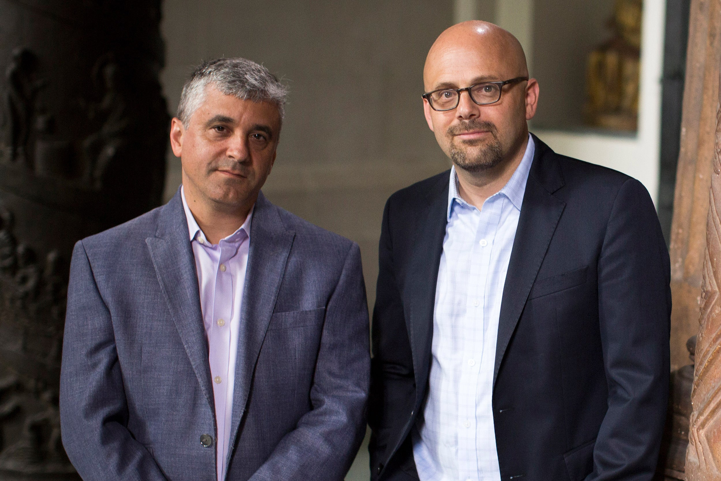 "Steven Levitsky (left) and Daniel Ziblatt, Harvard professors and authors of ""How Democracies Die,""  believe the polarization in the U.S. over issues involving race, religion, and culture could threaten democracy."