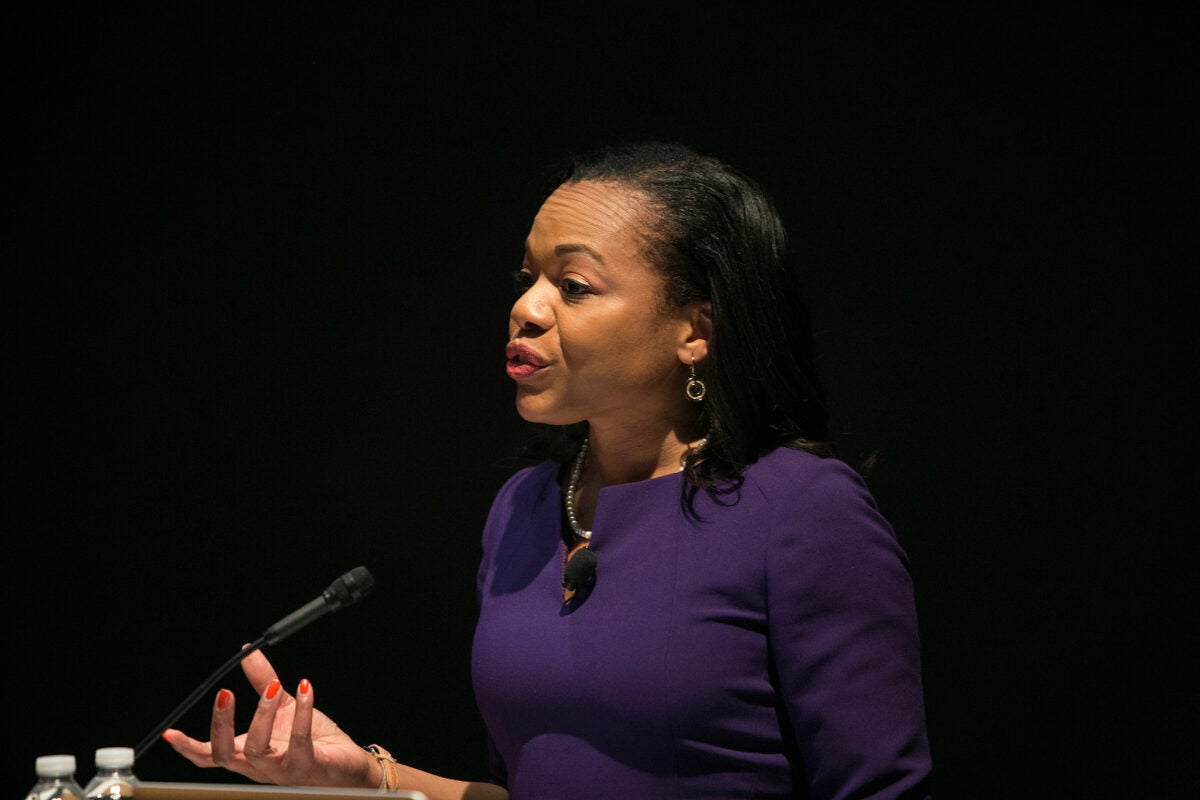 "Keynote speaker Kristen Clarke '97 encouraged Harvard students to think about how they can leverage their education to benefit society. ""[W]e have an obligation to make sure that the generation behind us inherits a world that is better than what we have today,"" she said."