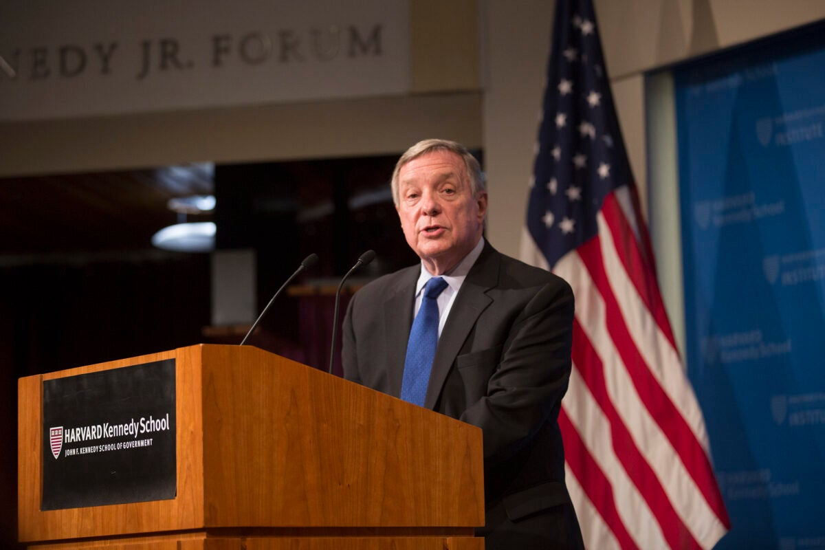 Sen. Minority Whip Dick Durbin, a leading voice on DACA and immigration reform, speaks at the JFK Jr. Forum.