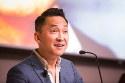 "Viet Thanh Nguyen, RI '09, shared the story behind his Pulitzer Prize-winning novel ""The Sympathizer"" during a talk that covered history, identity, and politics in his writing."