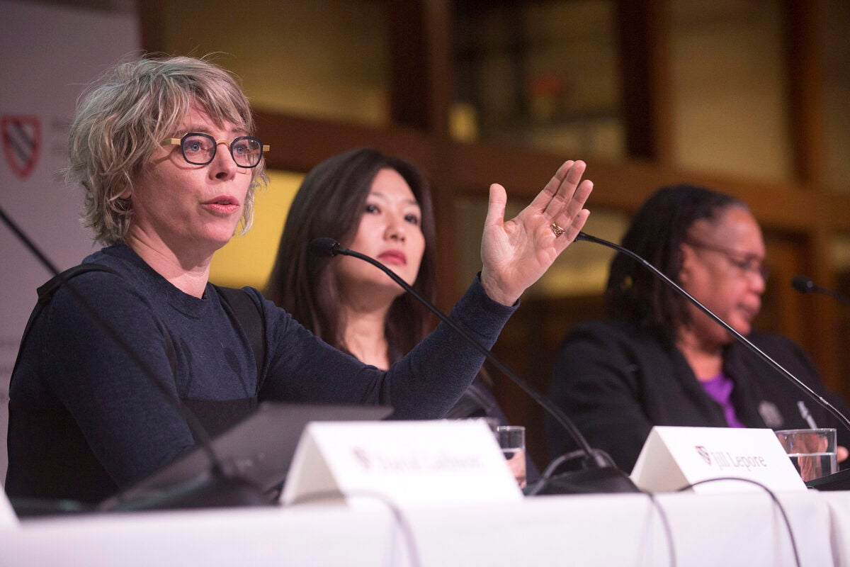 Jill Lepore (from left), Jeannie Suk Gersen, and Evelynn M. Hammonds take part in a panel discussion during a conference about the #MeToo movement at the Radcliffe Institute.