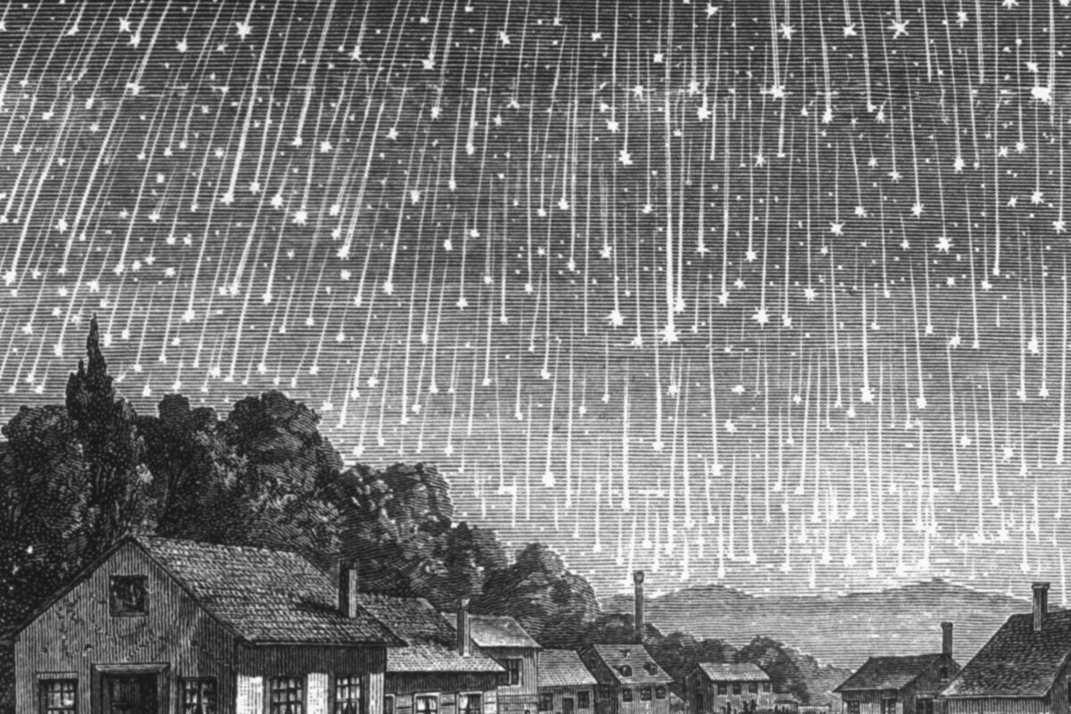 Drawing of Leonid meteor shower, 1833.