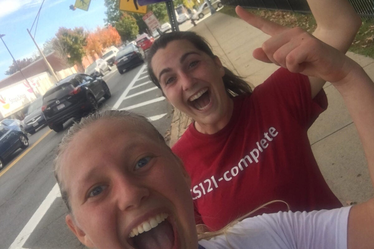 """Harvard students Malia Ellington '19 (front) and Emily Aiken '19 brought """"community improvement"""" to Somerville via the course """"Urban Health and Community Change: Planning Action with Local Stakeholders."""""""